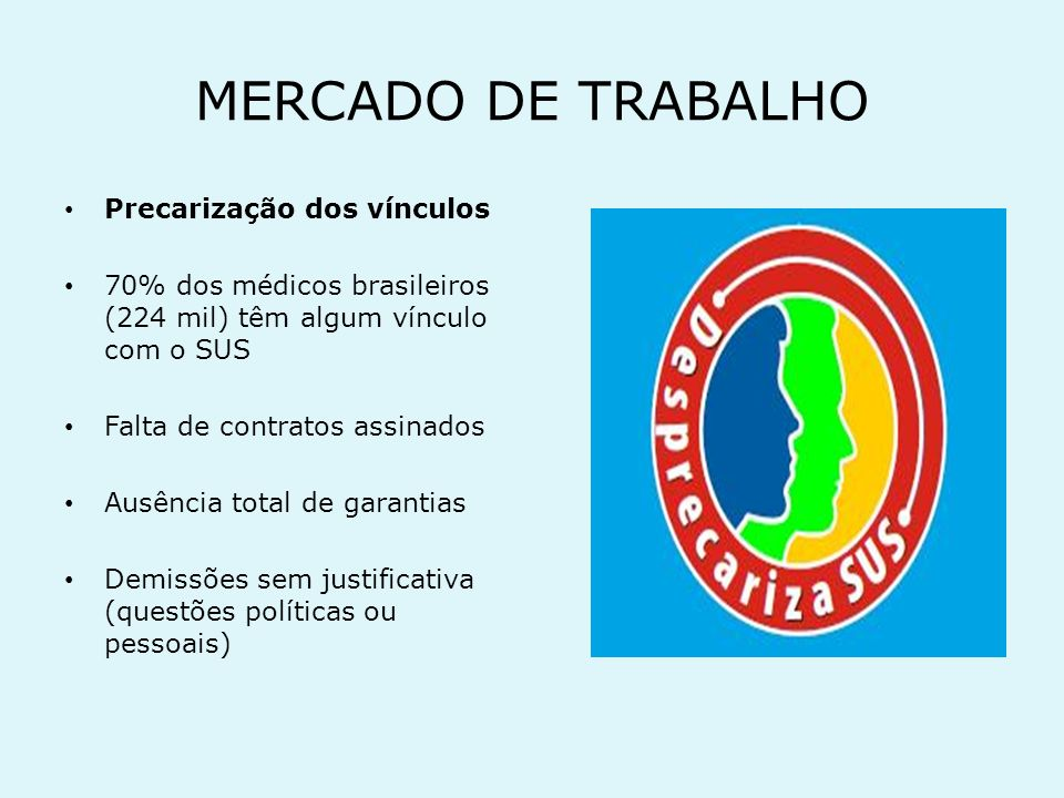 MERCADO DE TRABALHO Precarização dos vínculos
