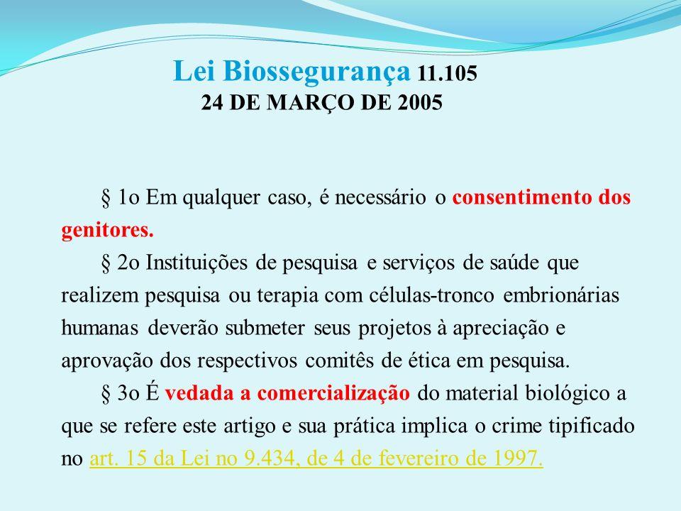 Lei Biossegurança 11.105 24 DE MARÇO DE 2005