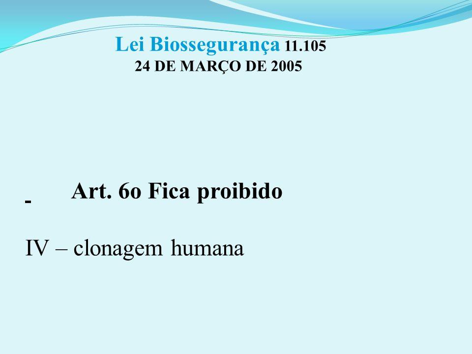 Art. 6o Fica proibido IV – clonagem humana Lei Biossegurança 11.105