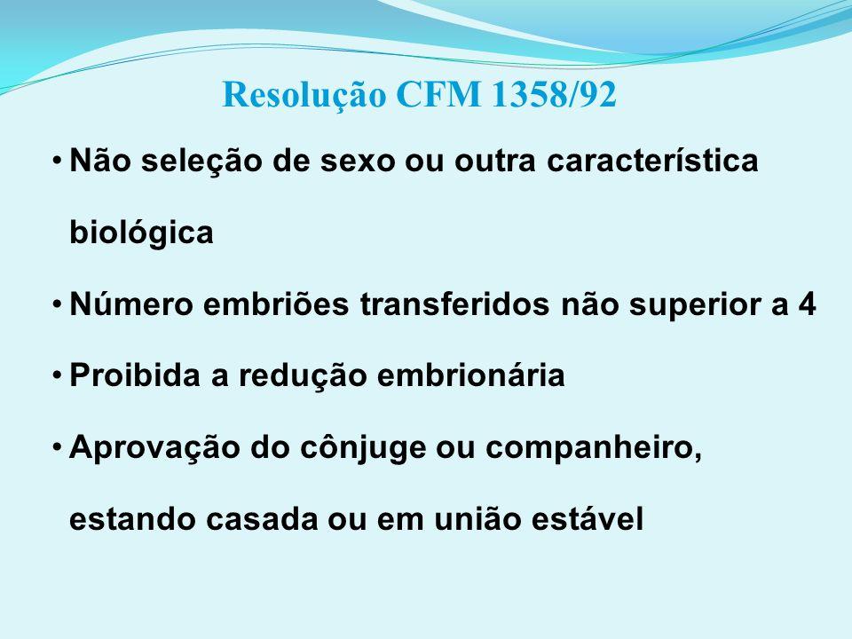Resolução CFM 1358/92 Não seleção de sexo ou outra característica biológica. Número embriões transferidos não superior a 4.