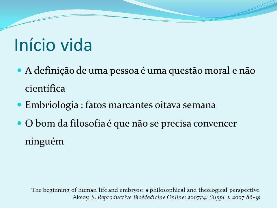 Início vida A definição de uma pessoa é uma questão moral e não científica. Embriologia : fatos marcantes oitava semana.