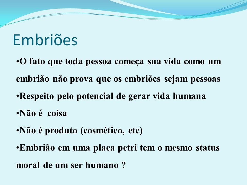 Embriões O fato que toda pessoa começa sua vida como um embrião não prova que os embriões sejam pessoas.