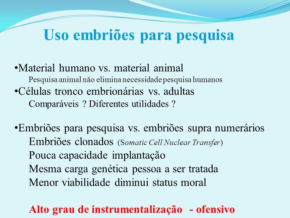 Uso embriões para pesquisa