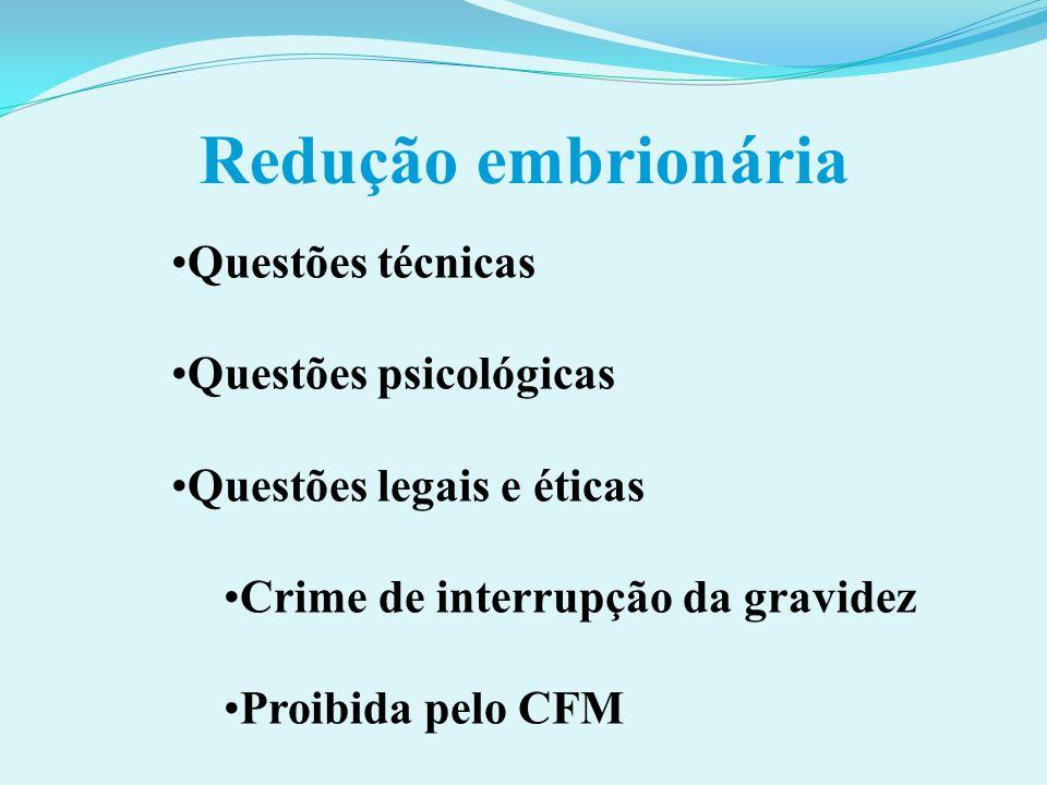 Redução embrionária Questões técnicas Questões psicológicas