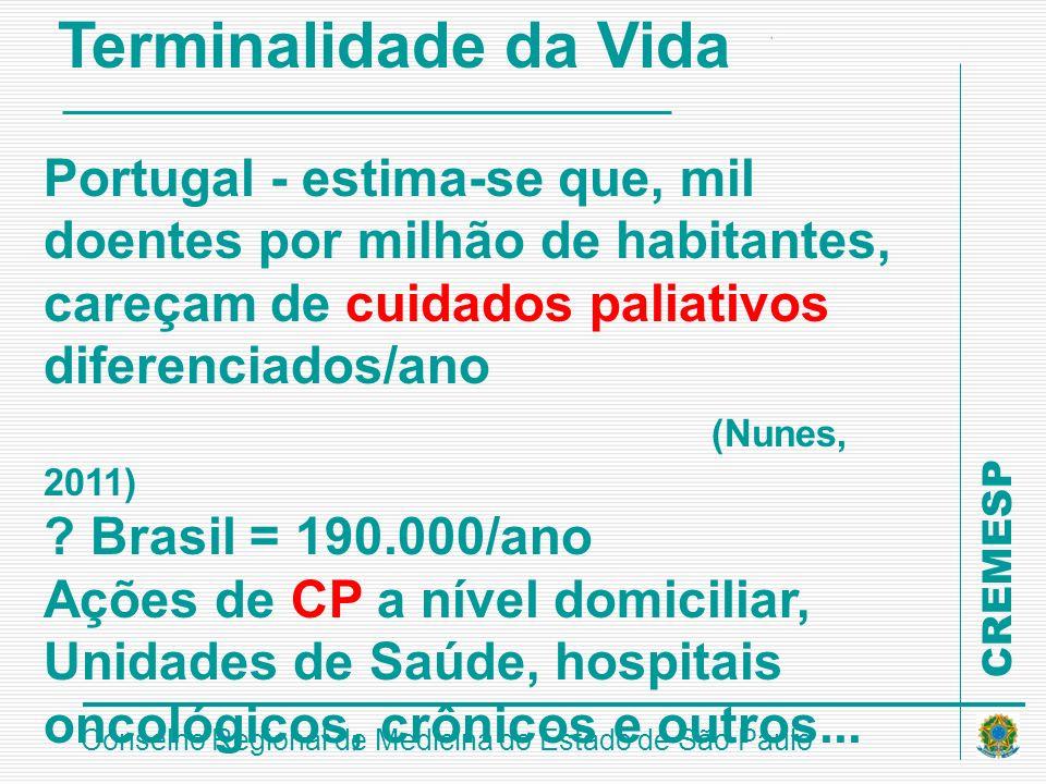 Terminalidade da Vida Portugal - estima-se que, mil doentes por milhão de habitantes, careçam de cuidados paliativos diferenciados/ano.