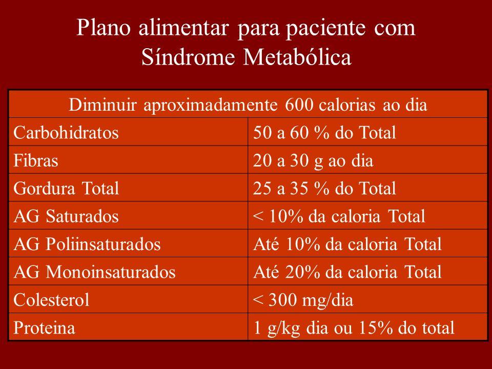 Plano alimentar para paciente com Síndrome Metabólica
