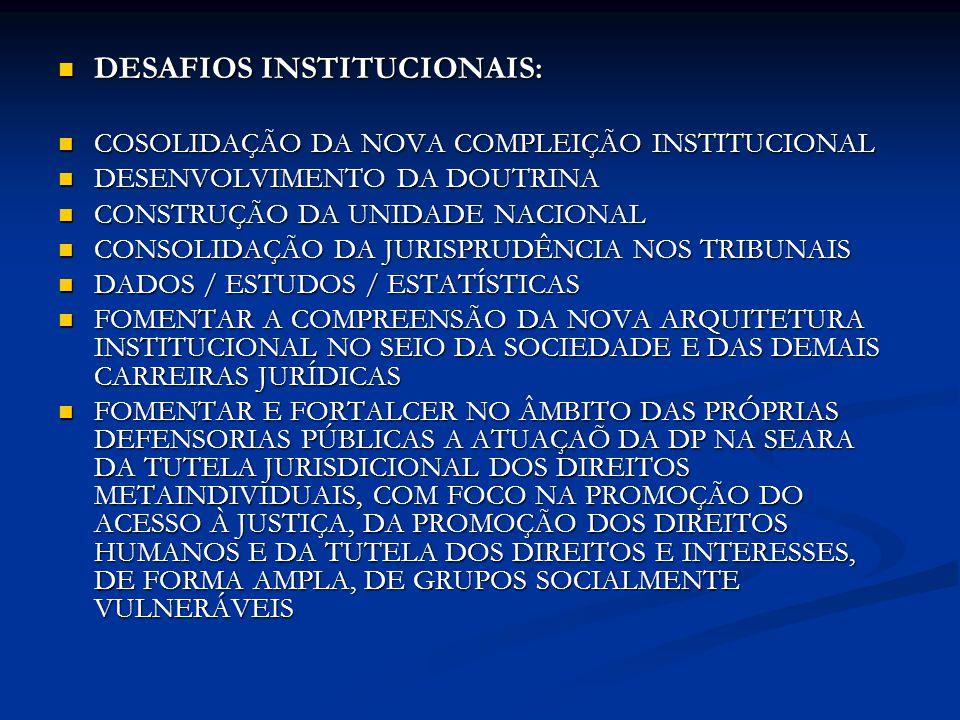 DESAFIOS INSTITUCIONAIS:
