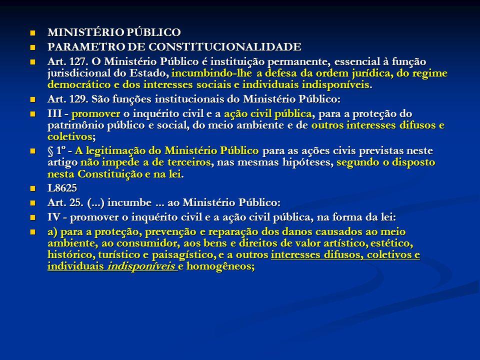 MINISTÉRIO PÚBLICO PARAMETRO DE CONSTITUCIONALIDADE.