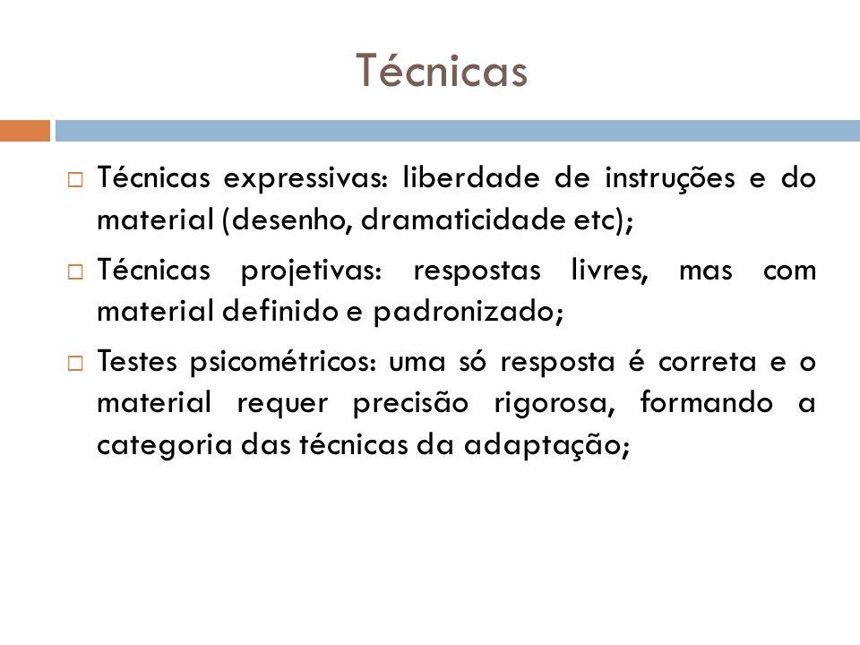 Técnicas Técnicas expressivas: liberdade de instruções e do material (desenho, dramaticidade etc);