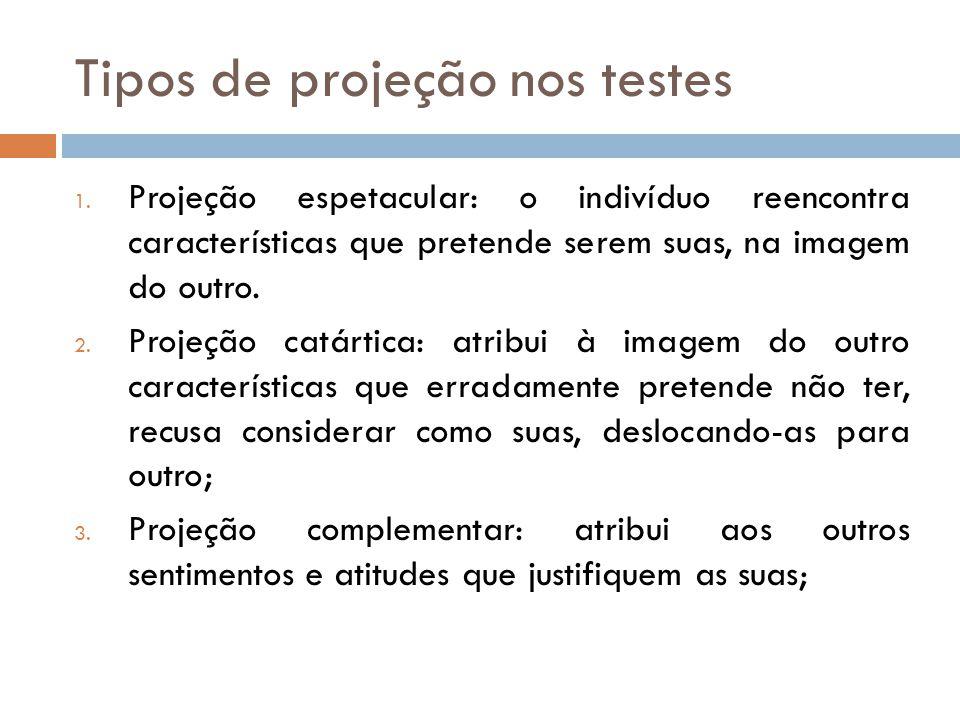 Tipos de projeção nos testes