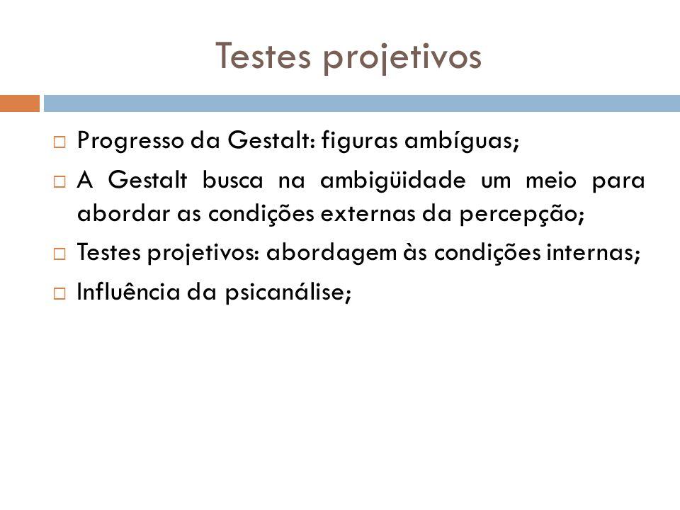 Testes projetivos Progresso da Gestalt: figuras ambíguas;