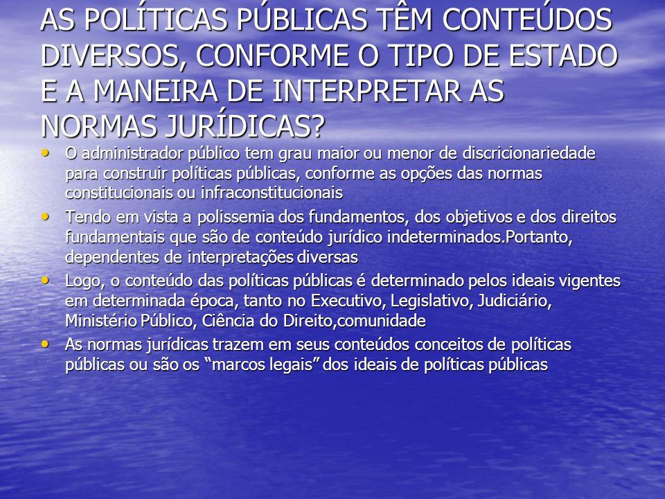AS POLÍTICAS PÚBLICAS TÊM CONTEÚDOS DIVERSOS, CONFORME O TIPO DE ESTADO E A MANEIRA DE INTERPRETAR AS NORMAS JURÍDICAS