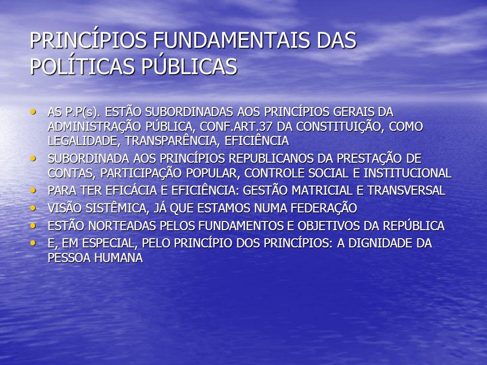 PRINCÍPIOS FUNDAMENTAIS DAS POLÍTICAS PÚBLICAS