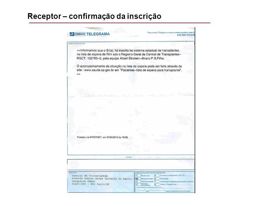 Receptor – confirmação da inscrição