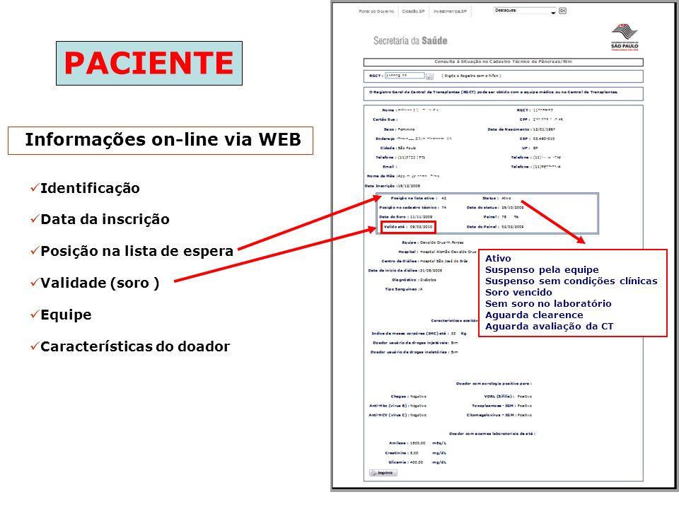 Informações on-line via WEB