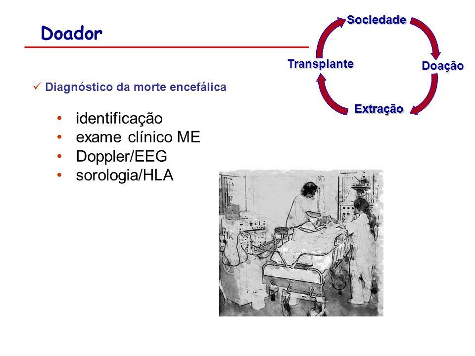 Doador identificação exame clínico ME Doppler/EEG sorologia/HLA