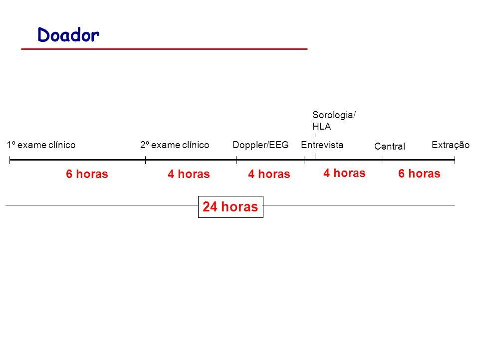 Doador 24 horas 6 horas 4 horas 4 horas 4 horas 6 horas Sorologia/ HLA