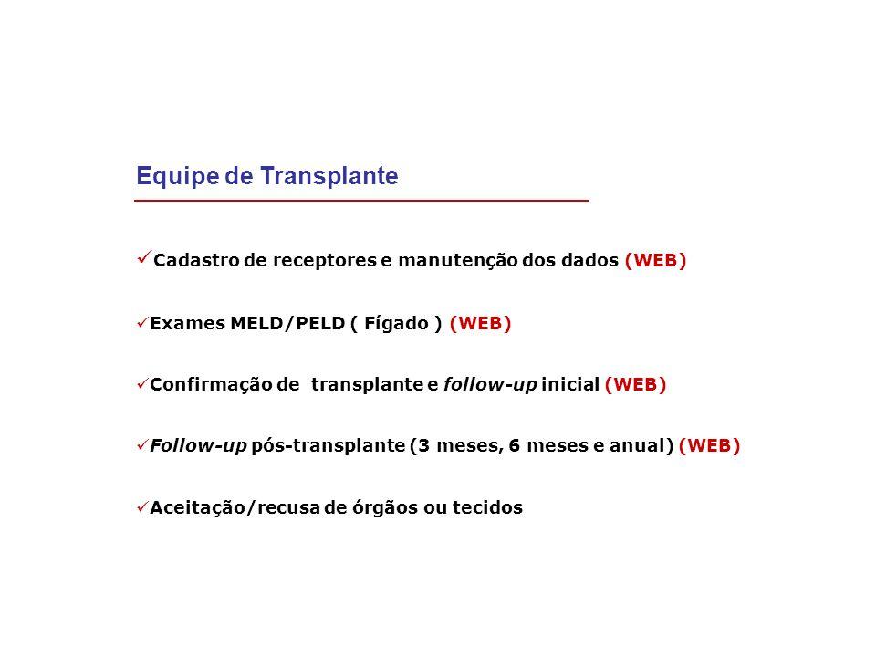 Equipe de Transplante Cadastro de receptores e manutenção dos dados (WEB) Exames MELD/PELD ( Fígado ) (WEB)