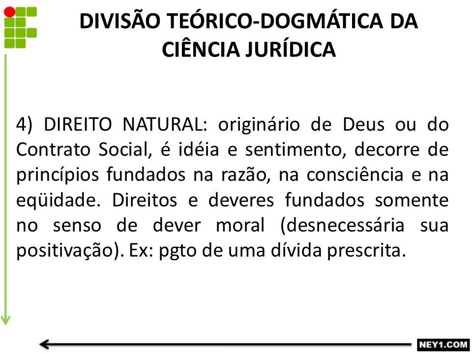 DIVISÃO TEÓRICO-DOGMÁTICA DA