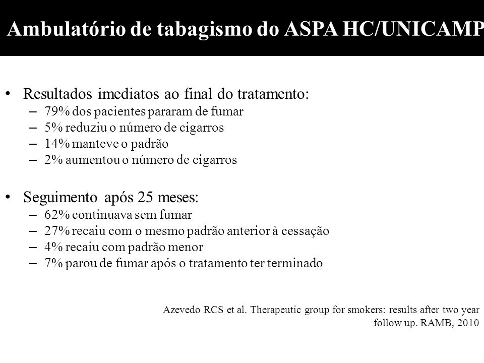 Ambulatório de tabagismo do ASPA HC/UNICAMP