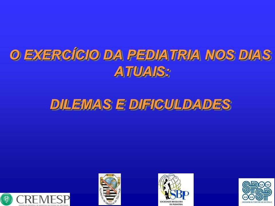 O EXERCÍCIO DA PEDIATRIA NOS DIAS DILEMAS E DIFICULDADES
