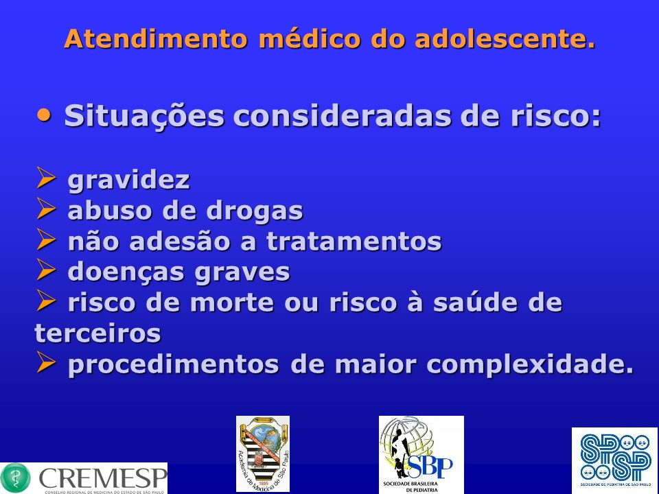 Atendimento médico do adolescente.