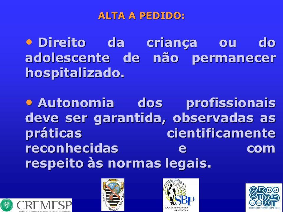 Direito da criança ou do adolescente de não permanecer hospitalizado.