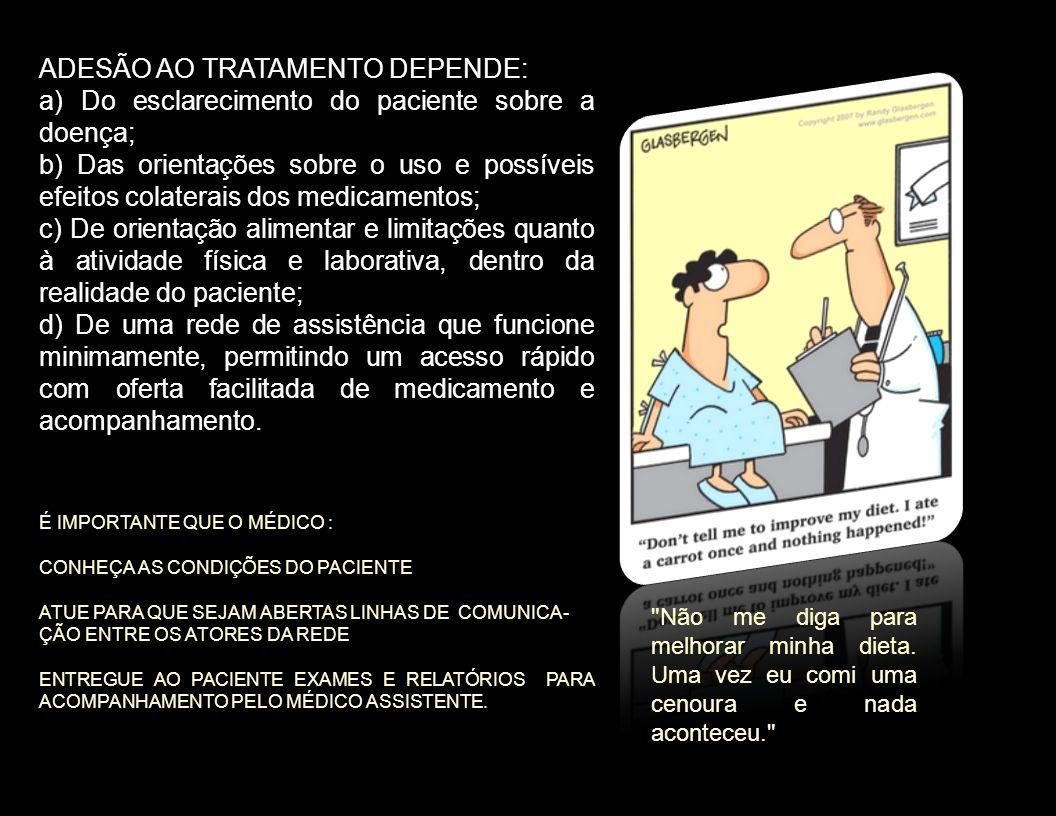 ADESÃO AO TRATAMENTO DEPENDE: