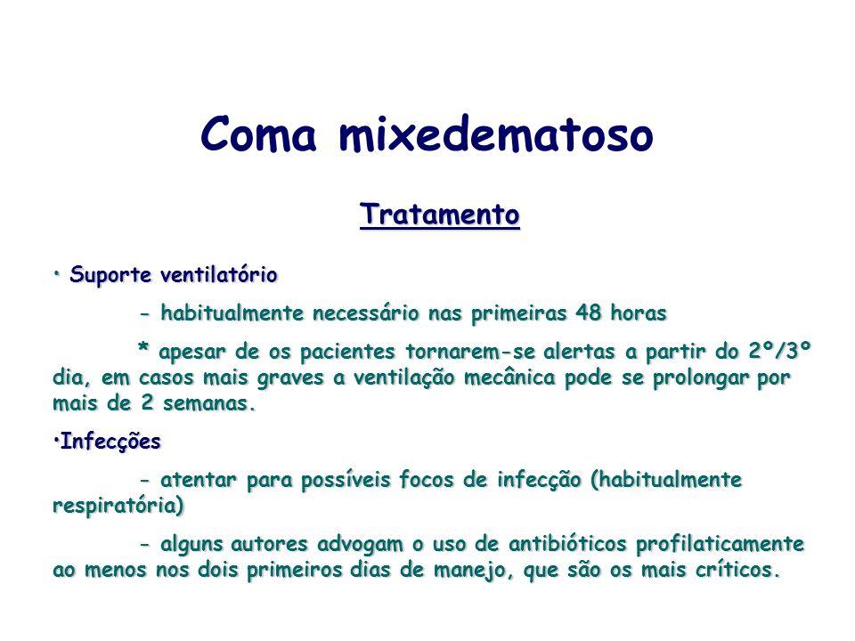Coma mixedematoso Tratamento Suporte ventilatório