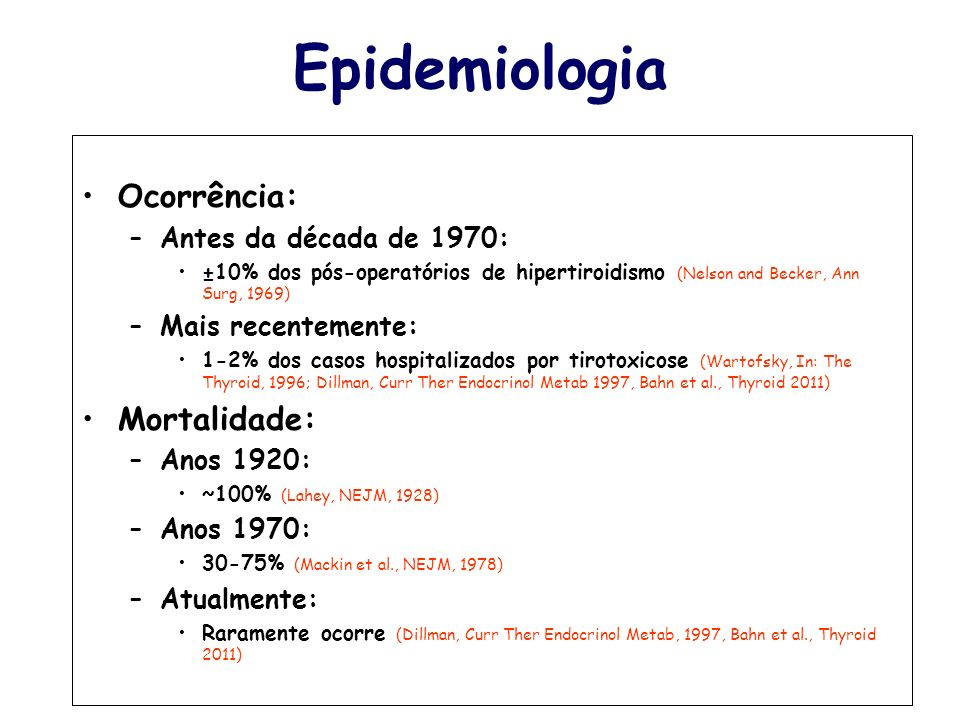 Epidemiologia Ocorrência: Mortalidade: Antes da década de 1970:
