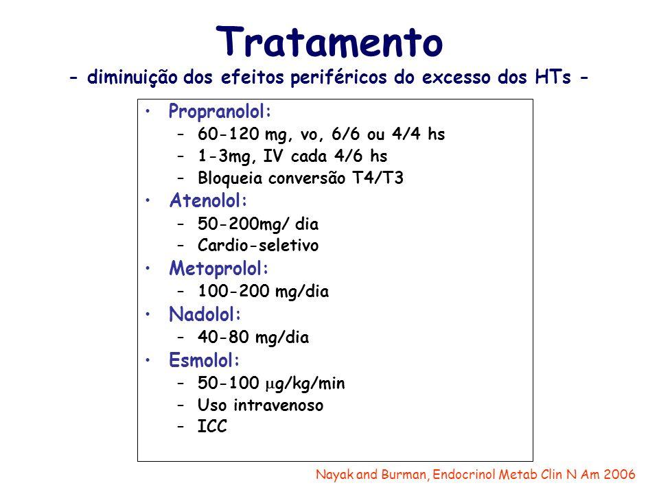 Tratamento - diminuição dos efeitos periféricos do excesso dos HTs -
