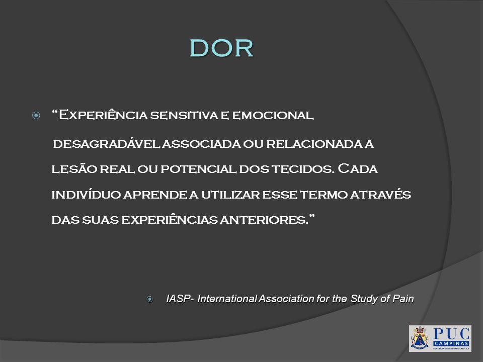 dor Experiência sensitiva e emocional