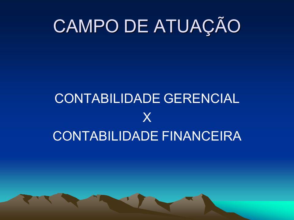 CAMPO DE ATUAÇÃO CONTABILIDADE GERENCIAL X CONTABILIDADE FINANCEIRA
