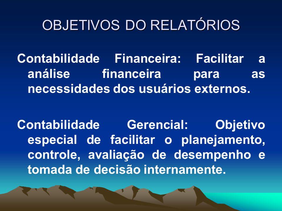 OBJETIVOS DO RELATÓRIOS