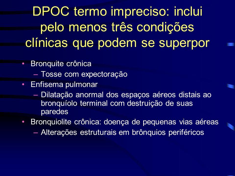 DPOC termo impreciso: inclui pelo menos três condições clínicas que podem se superpor