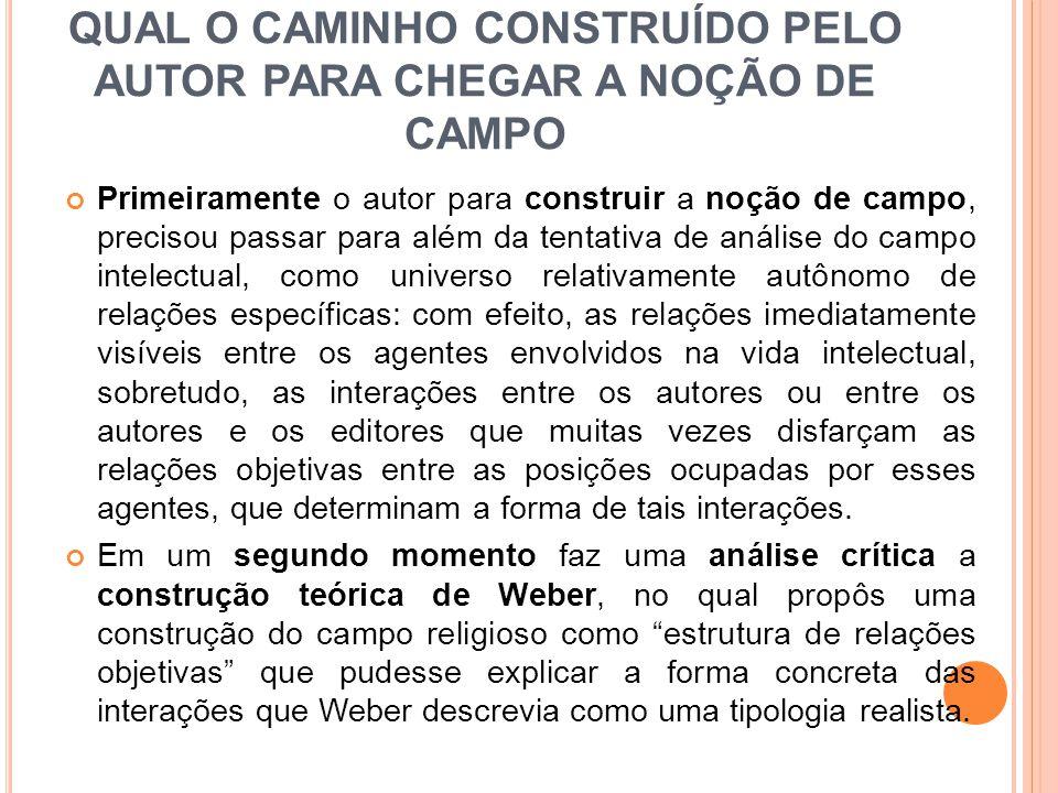 QUAL O CAMINHO CONSTRUÍDO PELO AUTOR PARA CHEGAR A NOÇÃO DE CAMPO