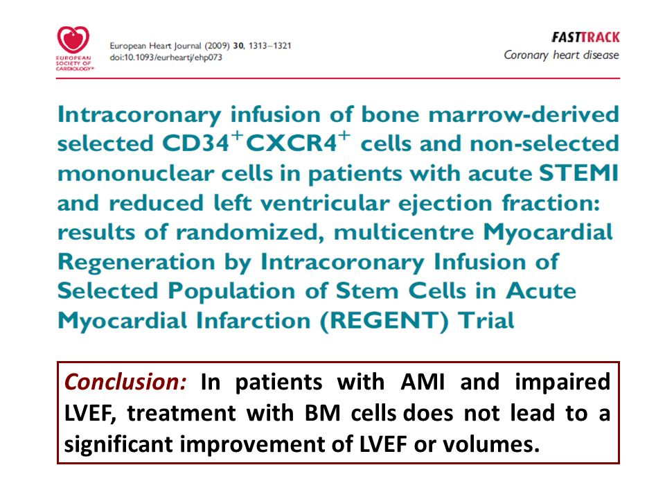 Conclusion: In patients with AMI and impaired LVEF, treatment with BM cells does not lead to a significant improvement of LVEF or volumes.