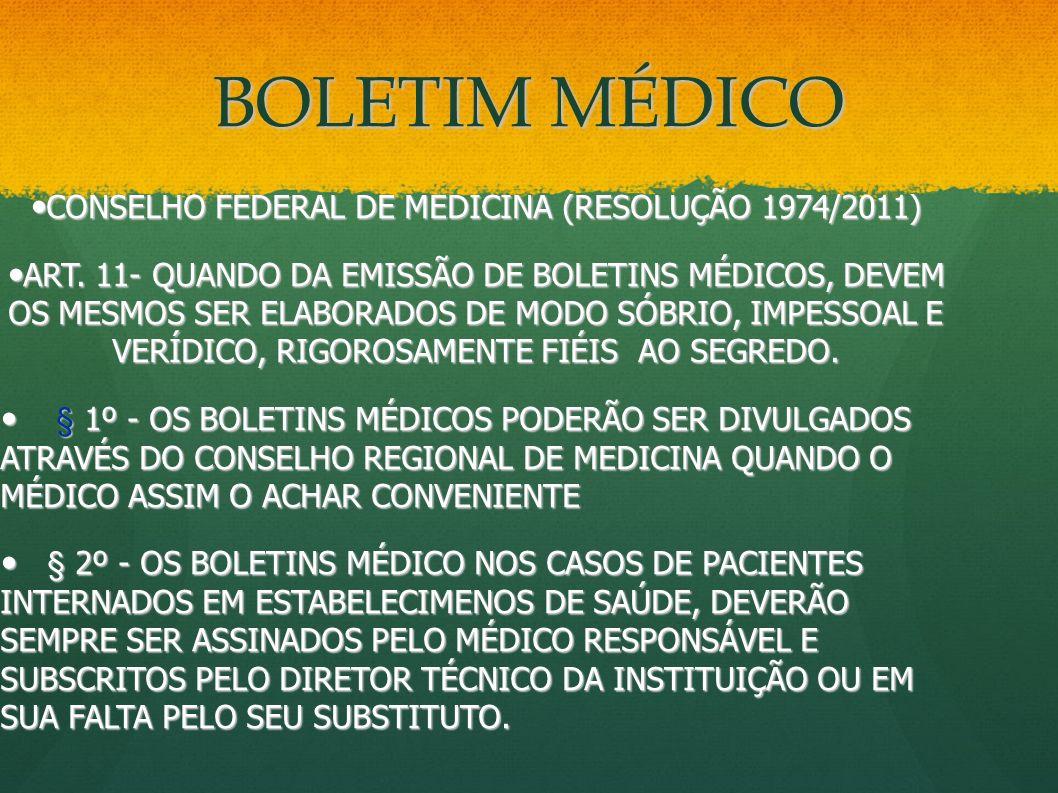 CONSELHO FEDERAL DE MEDICINA (RESOLUÇÃO 1974/2011)