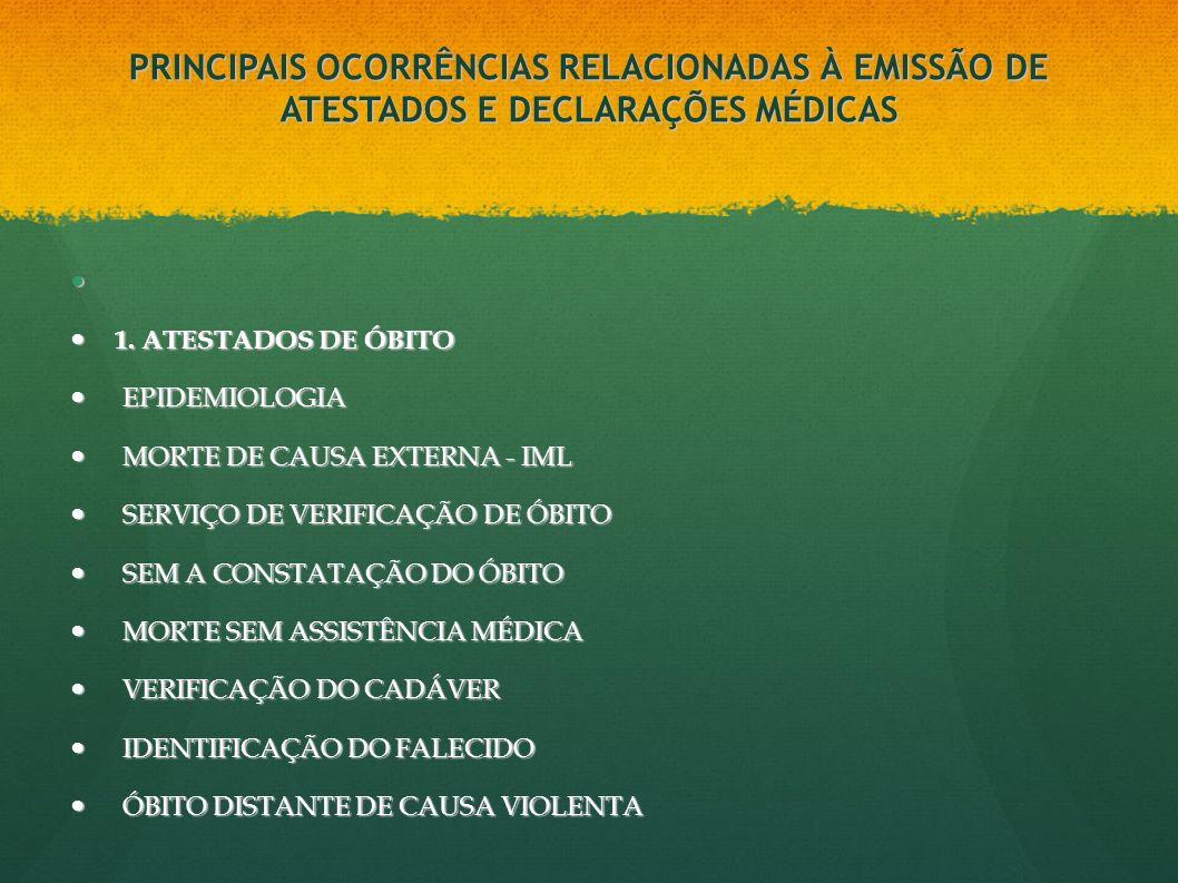PRINCIPAIS OCORRÊNCIAS RELACIONADAS À EMISSÃO DE ATESTADOS E DECLARAÇÕES MÉDICAS