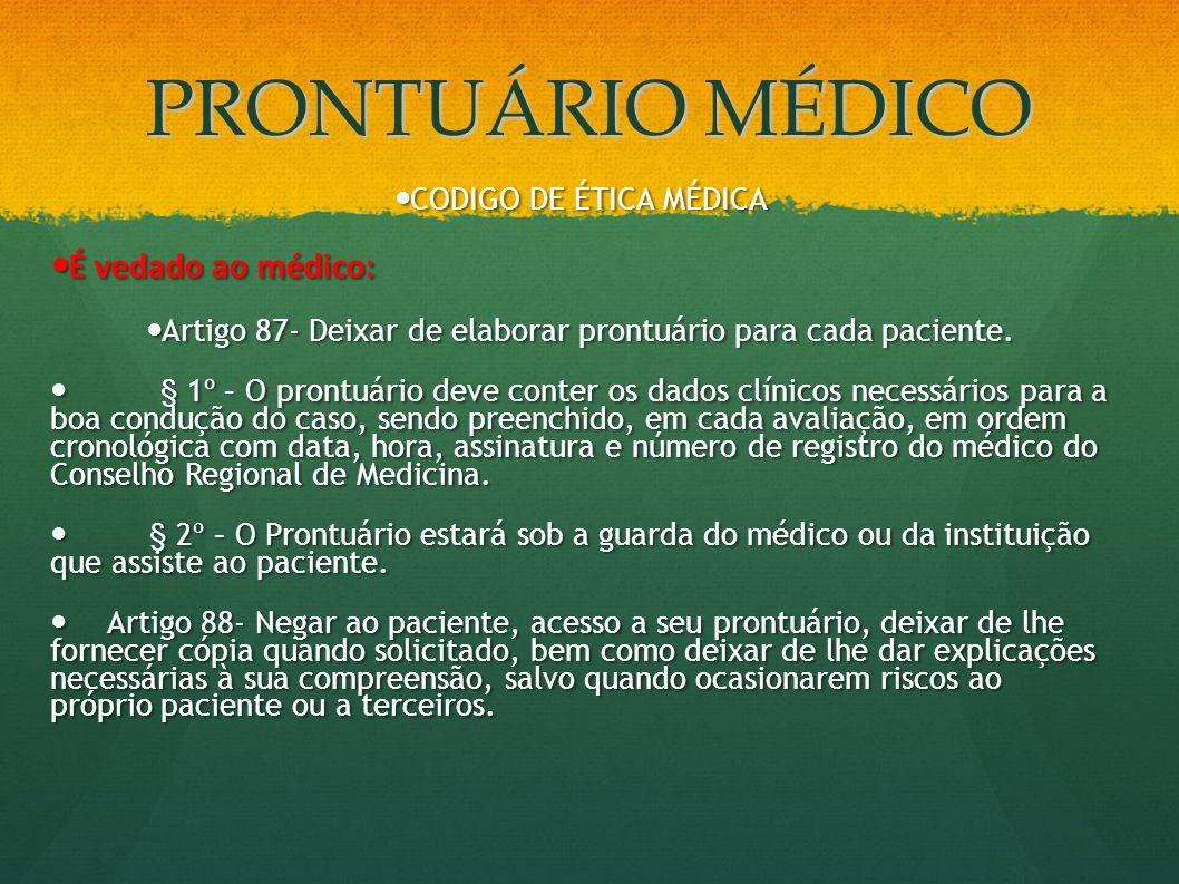 Artigo 87- Deixar de elaborar prontuário para cada paciente.