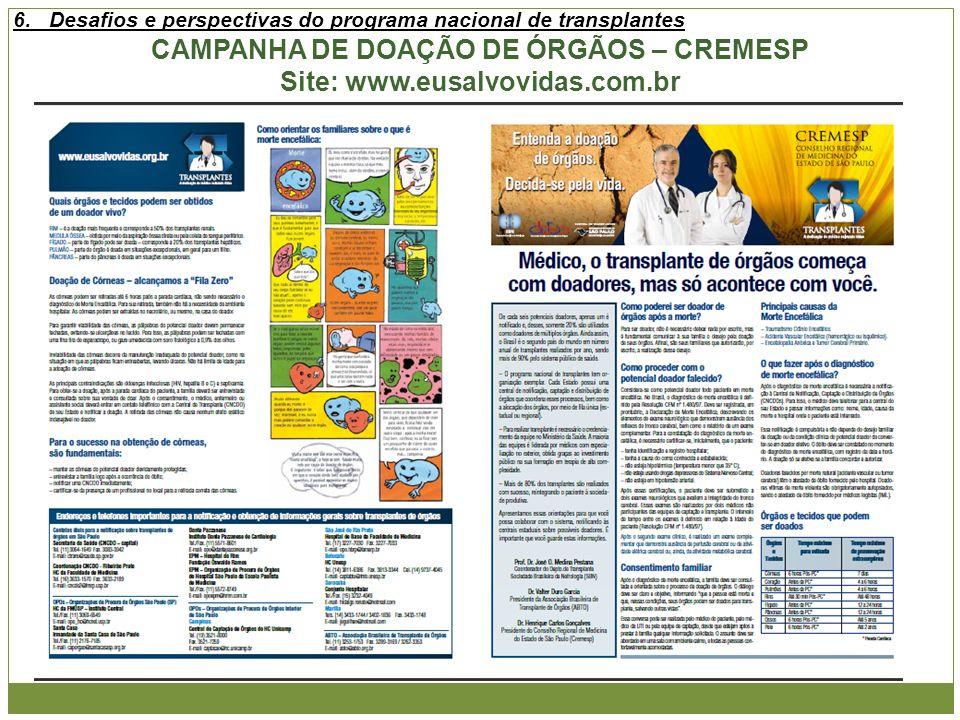 CAMPANHA DE DOAÇÃO DE ÓRGÃOS – CREMESP Site: www.eusalvovidas.com.br