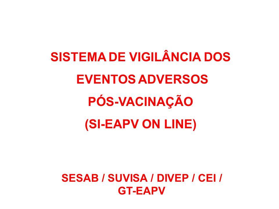 SISTEMA DE VIGILÂNCIA DOS SESAB / SUVISA / DIVEP / CEI /