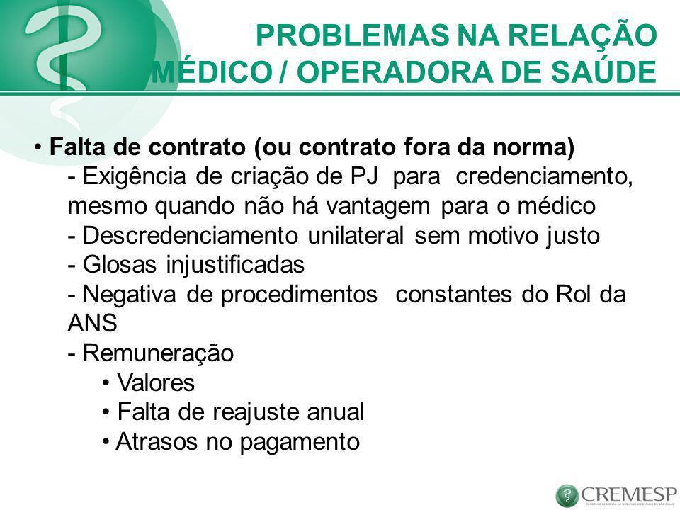 MÉDICO / OPERADORA DE SAÚDE
