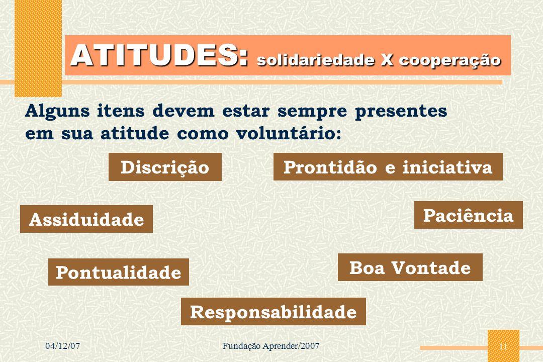 ATITUDES: solidariedade X cooperação