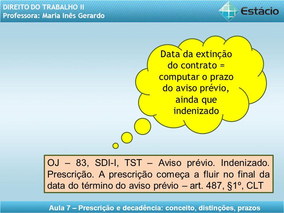 Data da extinção do contrato = computar o prazo do aviso prévio, ainda que indenizado
