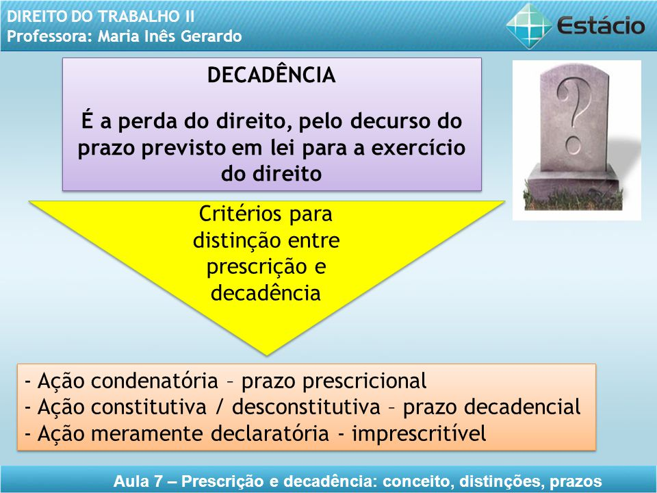 Critérios para distinção entre prescrição e decadência
