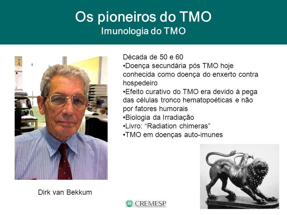 Os pioneiros do TMO Imunologia do TMO