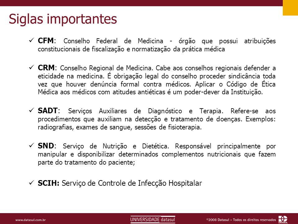 Siglas importantes CFM: Conselho Federal de Medicina - órgão que possui atribuições constitucionais de fiscalização e normatização da prática médica.