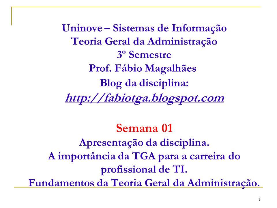 Uninove – Sistemas de Informação Teoria Geral da Administração 3º Semestre Prof.