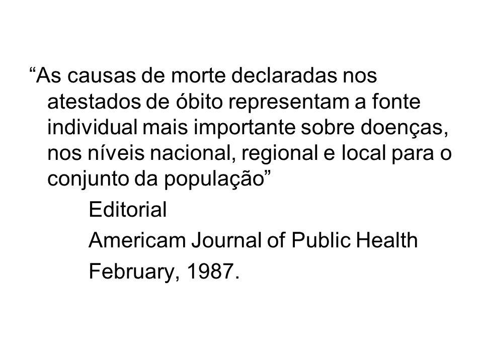 As causas de morte declaradas nos atestados de óbito representam a fonte individual mais importante sobre doenças, nos níveis nacional, regional e local para o conjunto da população